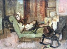 Unknown (20th century) - Dame op sofa