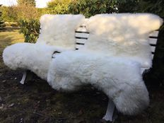 Two very large, real, nature white sheepskins/lambskins