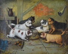 George Armfield. (1808-1893) - Six terriers around a caged rat.