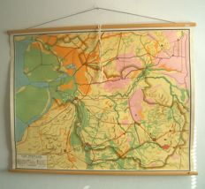 Three old school maps of Friesland, Groningen and Overijssel