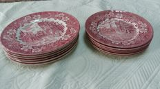 Set of 12 red TAVERN of Staffordshire plates