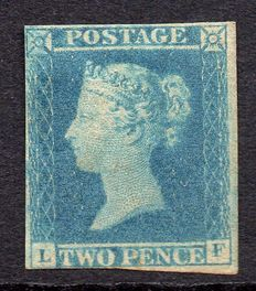 Great Britain Queen Victoria 1841 - Stanley Gibbons 14, 2d Blue