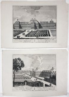 Petrus Schenk (1660-1711) - 2 Garden views of Ryswyk from the album Paradisus Oculorum - 1700