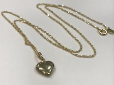 Gold necklace with gold heart pendant