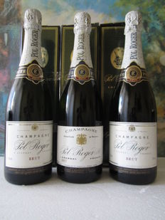 Champagne Pol Roger brut NV - 3 bottles (75cl) in box