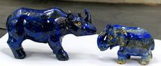 Hand-crafted Lapis Lazuli - Rhinoceros and Elephant figurines - 135 x 72mm and 87 x 56mm - 759gm  (2)