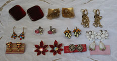 Earrings (11 pairs) from the '40s/'50s/'60s, signed Coro 1, signed Art