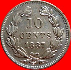 Republic of Nicaragua – 10 silver cents, minted in Heaton in 1887