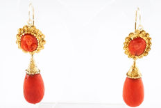 19th century coral pearl and cameo earrings with 925 gilt silver and lobster clasp