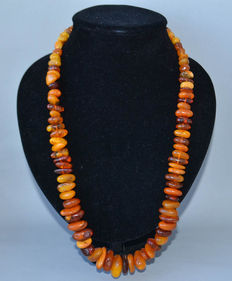 Baltic amber necklace butterscotch, egg yolk honey color, 78 gram