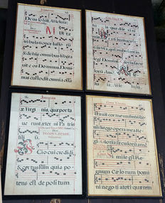 Lot with 4 leaves from an antiphonary - music manuscript on parchment - 16th century