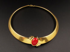 Signed Monet - Omega style collar necklace with a sliding red plastic cabochon