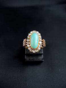 Old turquoise and diamond ring