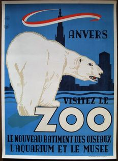 René Van Poppel - ' Visitez le Zoo d ' Anvers '/the ideal animal park - 1950