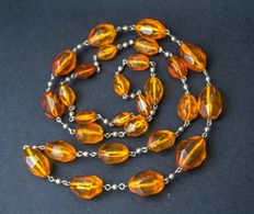 Faceted cut Baltic amber necklace egg yolk honey amber colour, 53 gram