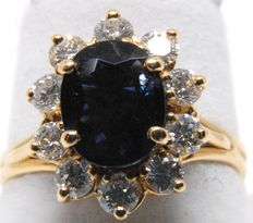 18k Gold Diamonds and Sapphire Ring  - 0,80ct F VS1, Sapphire 2.20ct - size 50