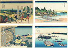 Four Ukiyo-e reproduction woodcuts – Katsushika Hokusai Views of Mount Fuji – Japan – '70s