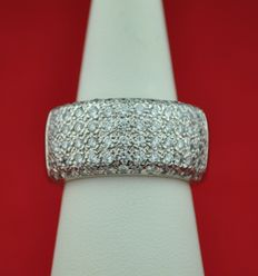 White Gold Ring Pavé set with 84 Diamonds total 2.40 ct - H/SI - Size 57/58