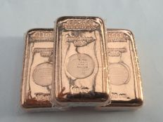 3 x 10 oz 999 fine copper bar Schloss Güldengossa