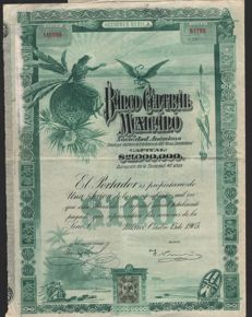 Mexico - Banco Central Mexicano 1905 - Accion $100 (Speculation paper)