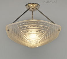 NOVERDY - Art Deco Chandelier - Nickeled solid brass and frosted pressed glass