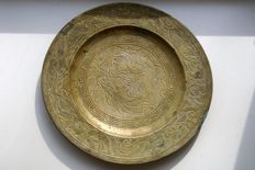 Bronze wall plate with dragons – China – early 20th century