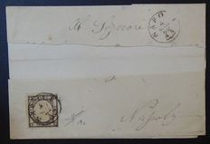 Naples 1841 - Letter for city with Sassone no. 19c deep black