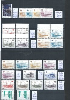 Belgium 1977/1982 - Selection of stamps between CF442 and CF456 with various curiosities or varieties - COB CF432 P6-V, 442/45-V, 451/54-V