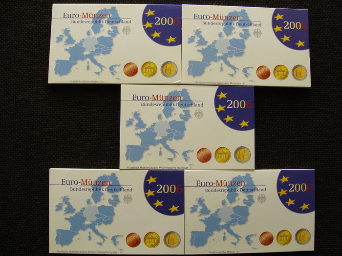Germany – Euro Year pack 2006 A, D, F, G, J, incl. 5 x 2 Euro Schleswig – Holstein