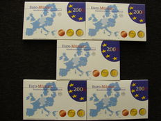 Germany - year sets of euro coins, 2006 A, D, F, G, J, with five 2 euro coins from Schleswig-Holstein