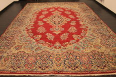 Old hand-knotted Persian palace carpet, old Lawer Kirman oriental carpet, 305 x 435 cm, Tapis Tappeto carpet