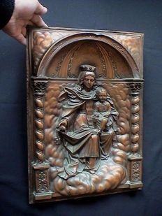 Rare, antique large and heavy copper Church  altar / Tabernacle Madonna Panel - 19th century