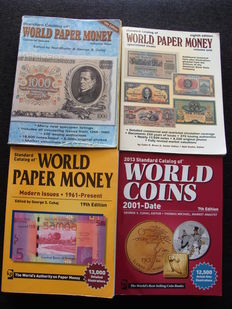Accessories - various Krause catalogues, coins and banknotes (4 pieces).
