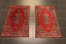 Two wonderful antique handwoven Persian carpets Keschan. Made in Iran around 1960 old rug 68 x 110 cm