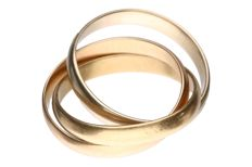 Tricolour gold ring of 14 kt