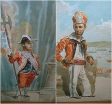 Two prints after watercolours by Alfredo Roque Gameiro (1846 - 1935) -  from an album of Portuguese Customs - 1890
