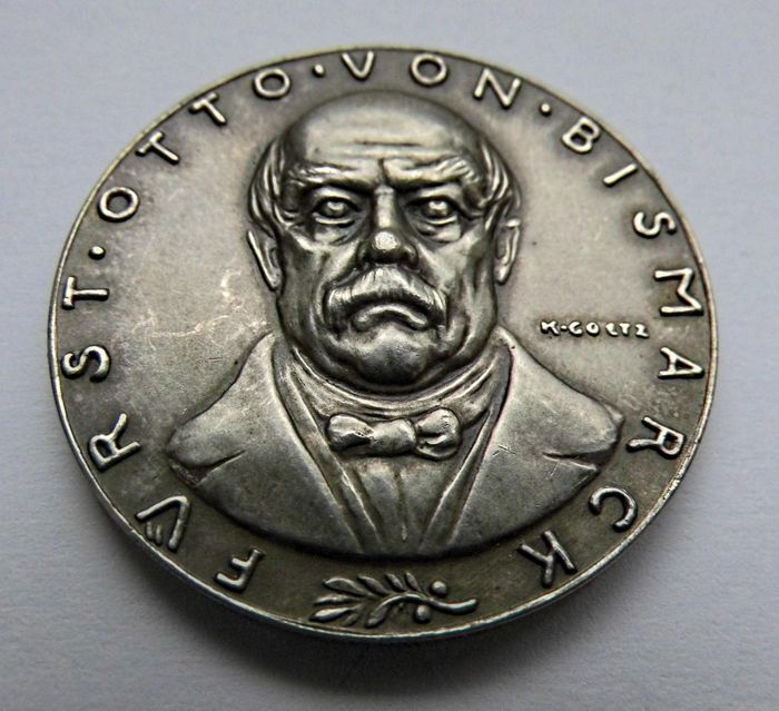 Germany, Weimar Republic - Silver Medal 1928 by Karl Goetz commemorating to the 30 Years of the Death of Otto von Bismarck