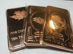 USA - 3 x 10 oz 999 copper bars, 1x American buffalo, 1x maple leaf, 1x ship