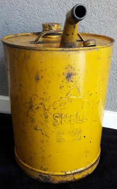 Large and old shell oil can
