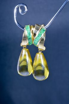 Long 18 kt gold cocktail earrings with 12 natural emeralds and zircon drops (peridot). ***No reserve price***