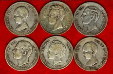 Spain - Set of 6 silver coins of 5 pesetas each - Amadeo I (1871*71); Alfonso XII (1879 and 1885*87) and Alfonso XIII (1888, 1889 and 1892). (6).