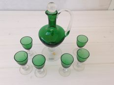 Green liquor set with 6 shot glasses