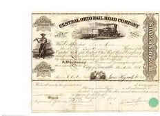 Central Ohio rail road company stock certificate (1853)