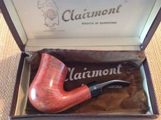Unsmoked Clairmont huge freehand pipe, great cross grained briar, 5 mm balsa filters !!!