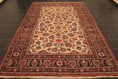 An antique handwoven Jugendstil Persian carpet Mesched Meshed 320 x 410 cm made in Iran around 1910