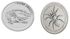 Australia - Perth Mint - 1 dollar Salt Water Crocodile 2014 + 1 dollar Funnel Web Spider 2015 - 999 silver coin