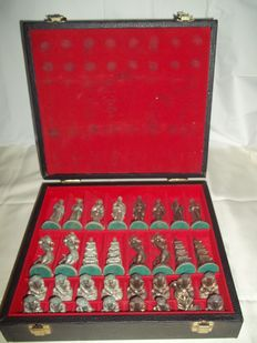 Heavy metal Chinese chess pieces in a case - total weight 5.3 kg