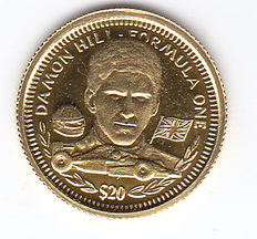 "Liberia – 20 dollars 1994 ""Damon Hill Formula One"" – gold."