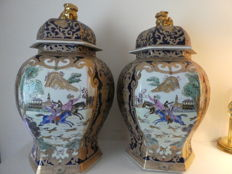 Pair of very large hexagonal Chinese vases - China - End of 20th century
