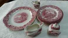 Red transferable Grindley of Staffordshire dinner service